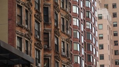 Facades Of Old Buildings In NYC Stock Footage