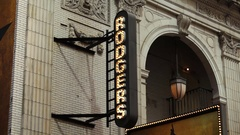 Rogers Theater Sign In NYC Stock Footage