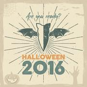 Happy Halloween 2016 Poster. Are you ready lettering and holiday symbols - bat Stock Illustration