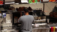 Food Cart Cook Working Stock Footage