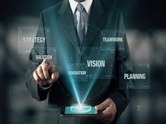 Businessman with Success Solution Strategy Innovation Vision Teamwork Planning Stock Footage