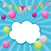 Color Glossy Happy Birthday Balloons Banner Background Vector Il Stock Illustration