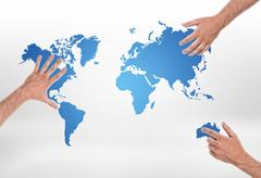 Three male hands put on different parts of world map Stock Photos