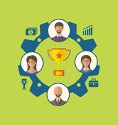 Unity of business people leading to success and awarding Stock Illustration