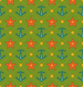 Seamless Summer Pattern with Anchor and Starfish. Vintage Texture Stock Illustration