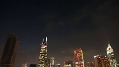 Skyscrapers Saigon city night. Vietnam Stock Footage