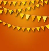 Autumnal Decoration with Orange and Yellow Bunting Pennants Stock Illustration