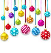 Collection Colorful Christmas Ornamental Balls Stock Illustration