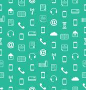 Seamless Pattern with Business and Financial Flat Icons, Endless Wallpaper Stock Illustration