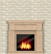 Realistic Marble Fireplace with Fire in Interior, Brick Wall Piirros