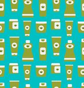 Seamless Pattern of Cosmetics Containers Stock Illustration