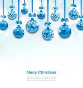Christmas Blue Glassy Balls with Bow Ribbon Stock Illustration