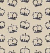 Seamless Wallpaper Representing the Crown of the British Royal Family Stock Illustration