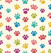 Seamless Texture with Traces of Cats, Dogs. Imprints of Paws Pets Stock Illustration