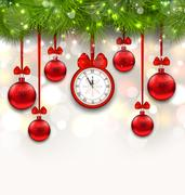 New Year Shimmering Background with Clock Stock Illustration