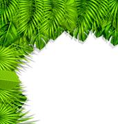 Illustration Summer Nature Background with Green Tropical Leaves Stock Illustration
