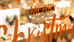 Congratulations Merry Christmas on a window pane. Christmas gifts for the window Stock Footage