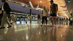 People at the airport in Doha Stock Footage