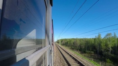 Long Way Train From Station to Station on Sunny Day. Concept Good Mood Timelapse Stock Footage