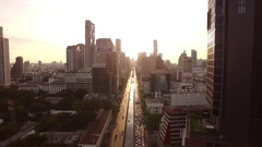Aerial view of Sathorn Road at Sunset time, Bangkok Stock Footage
