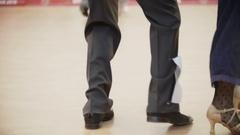 Boogie woogie dancing legs. Couples in ballroom Stock Footage