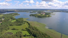 View of small islands on the lake in Masuria and Podlasie district, Poland. Stock Footage