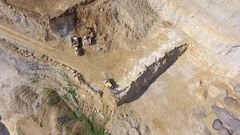 Mining quarry with special equipment, open pit excavation. Sand mine. Stock Footage