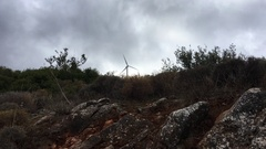Windmill with dark clouds Stock Footage