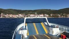 Ferry leaving Glyfa Stock Footage