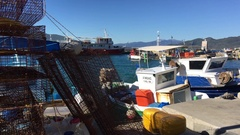 Fishing cage in the harbour of Loutra Edipsou Stock Footage