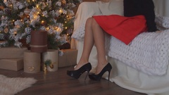 Young beautiful woman the christmas tree in nice decorating house Stock Footage