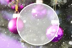 Blurry Christmas Tree With Rose Quartz Balls Stock Photos