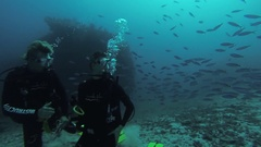Divers swim underwater with aqualungs. Deepness. Colony of fish. Handshake Stock Footage