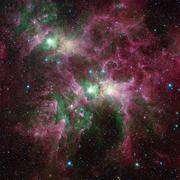 Outer space. The bright stars of the nebula. Stock Photos