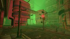 3D rendering of a futuristic city street in smog. Gloomy urban cityscape. Illust Piirros