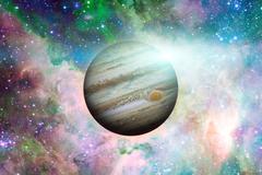 Planet Jupiter. Nebula on the background. Stock Photos