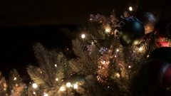 Christmas decorations on a big green tree Stock Footage