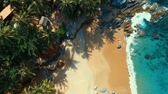 Aerial: Looking down at the beach with a bird's-eye view. Stock Footage