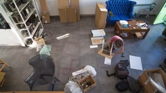 Furniture unpack apartment loft lifestyle Stock Footage