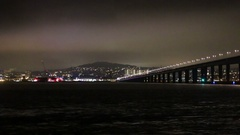 Illuminated V&A Design Museum and Tay Road Bridge Dundee, Scotland Stock Footage