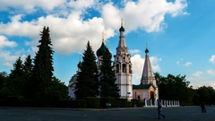 Hyperlapse. Church of Elijah the Prophet in Yaroslavl Stock Footage