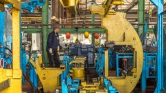 Tractor engine assembled on the factory production line on tractor factory Stock Footage