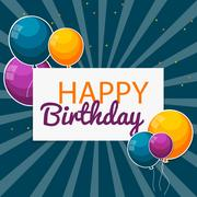 Color Glossy Happy Birthday Balloons Banner Background Vector Il Piirros
