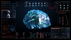 Low polygon Brain digital lines in display, future artificial intelligence. Stock Footage