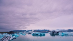 Time Lapse - Clouds Moving over Jökulsárlón Glacier Lake in Iceland Stock Footage