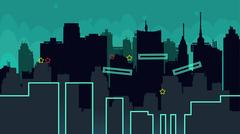 Seamless cartoon night city landscape, vector unending background with road Piirros