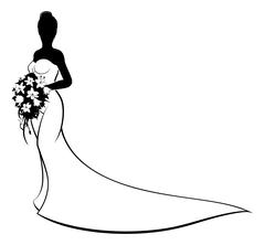 Wedding Bride Silhouette Holding Bouquet Stock Illustration