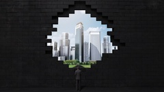 The wall collapses, creating a hole. Businessman build buildings. cityscape. Stock Footage