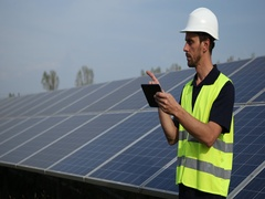 Inspector Engineer Man Holding Digital Tablet Browsing About Alternative Energy Stock Footage