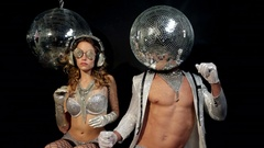 Silver sexy music party man woman club disco Stock Footage